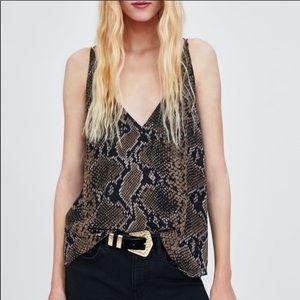 Zara Snakeskin Print Strappy Swing Cami Size XS